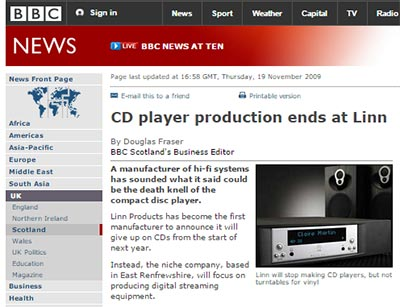 Linn stops cd website